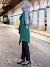 Unlined - Emerald - Crew neck - Crepe - Evening Suit
