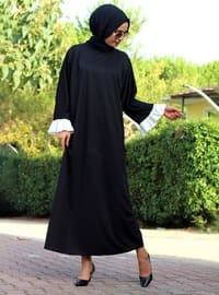 Black - Black - Unlined - Crew neck - Abaya