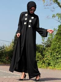 Black - Black - Unlined - V neck Collar - Abaya