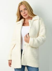 White - Ecru - Fully Lined - Shawl Collar -  - Coat