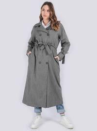 Gray - Shawl Collar - - Trench Coat