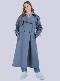 Indigo - Shawl Collar - - Trench Coat