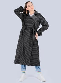 Black - Shawl Collar - - Trench Coat