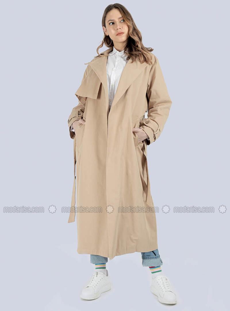 Camel - Shawl Collar - - Trench Coat