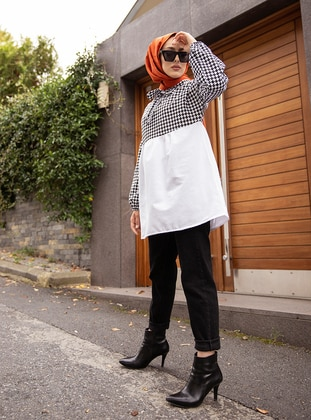 White - Black - Houndstooth - Polo neck -  - Tunic - Tofisa