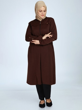 Terra Cotta - Unlined - Crew neck - Viscose - Plus Size Coat