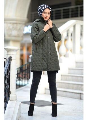 Khaki - Plus Size Overcoat