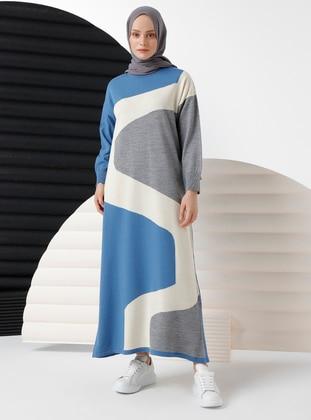 Blue - Unlined - Crew neck - Acrylic - - Knit Dresses