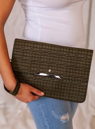 Khaki - Polyurethane - Satchel - Clutch - Clutch Bags / Handbags