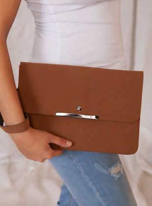 Tan - Polyurethane - Satchel - Clutch - Clutch Bags / Handbags
