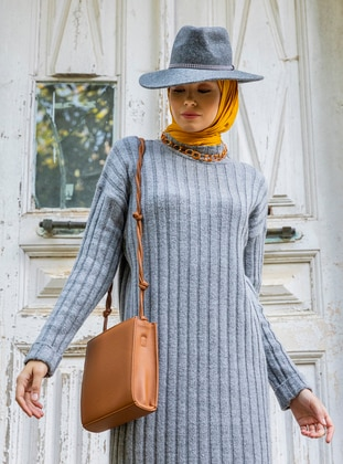 Gray - Unlined - Polo neck - Acrylic -  - Knit Tunics