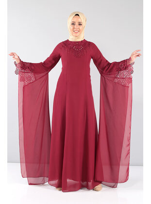 Maroon - Muslim Plus Size Evening Dress