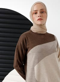 Brown - Unlined - Crew neck - Acrylic - - Knit Dresses