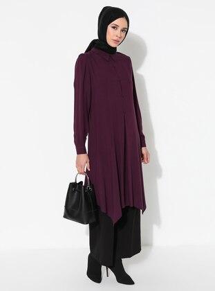 Purple - Point Collar - Viscose - Tunic