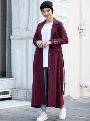 Maroon - Unlined - Shawl Collar - - Coat