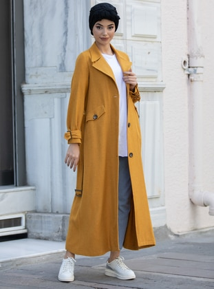 Mustard - Unlined - Shawl Collar -  - Coat