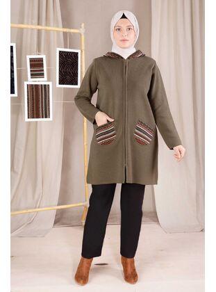 Green - Plus Size Knitwear - BEHREM