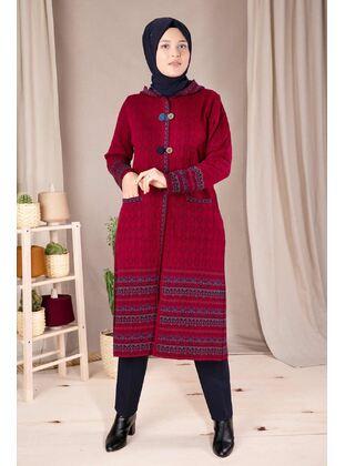 Red - Plus Size Knitwear - BEHREM