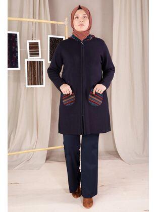 Navy Blue - Plus Size Knitwear - BEHREM