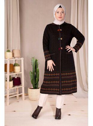 Black - Plus Size Knitwear - BEHREM