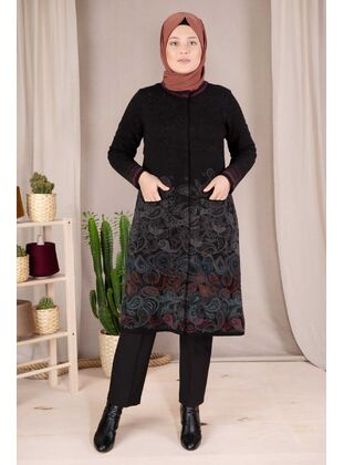 Black - Plus Size Knitwear - BEHREM