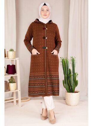 Brown - Plus Size Knitwear - BEHREM