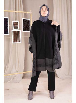 Anthracite - Plus Size Knitwear - BEHREM