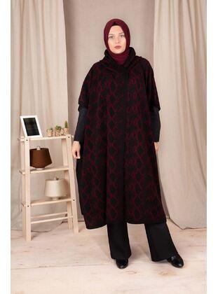 Maroon - Plus Size Knitwear - BEHREM