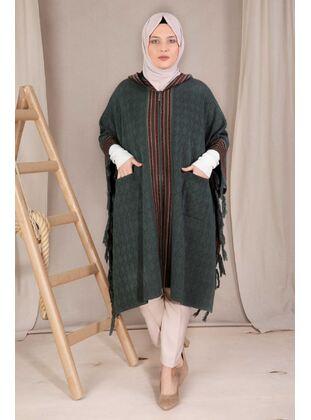 Khaki - Plus Size Knitwear - BEHREM