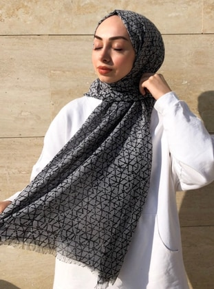 Gray - Printed -  - Shawl