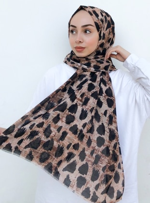 Brown - Black - Printed -  - Shawl