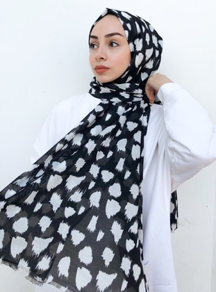 Black - Printed -  - Shawl