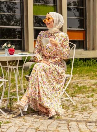 Ecru - Floral - Point Collar - Unlined - Modest Dress
