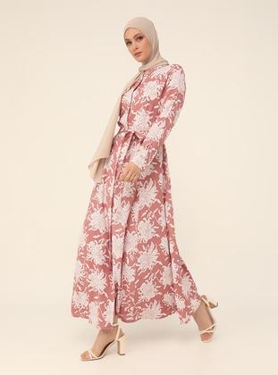 Powder - Floral - Point Collar - Unlined - Modest Dress