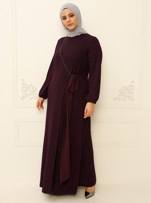 Plum - Plum - Multi - Unlined - Crew neck - Muslim Plus Size Evening Dress