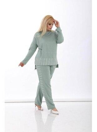 Green - Plus Size Tracksuit - MJORA