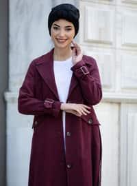 Maroon - Unlined - Shawl Collar - - Coat