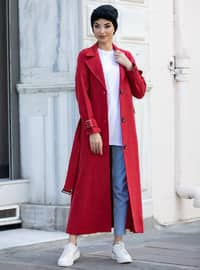 Red - Unlined - Shawl Collar - - Coat