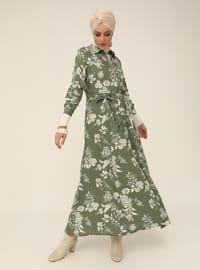Natural Fabric Floral Print Dress - Green - Woman