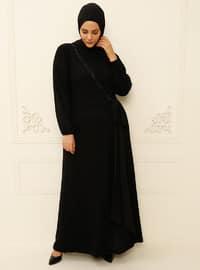Black - Black - Multi - Unlined - Crew neck - Muslim Plus Size Evening Dress