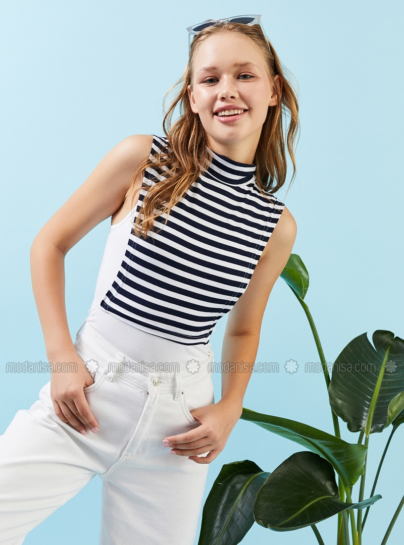 White - Navy Blue - Cotton - Combed Cotton - Neckcover