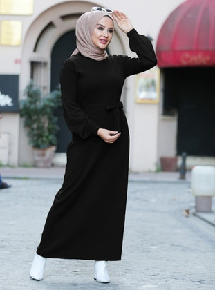 Black - Unlined - Crew neck - Acrylic -  - Knit Dresses