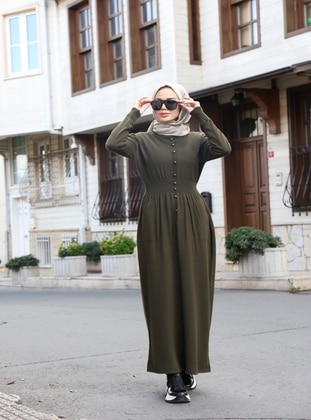 Khaki - Unlined - Crew neck - Acrylic -  - Knit Dresses
