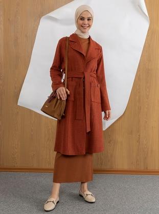 Terra Cotta - Unlined - Shawl Collar -  - Coat