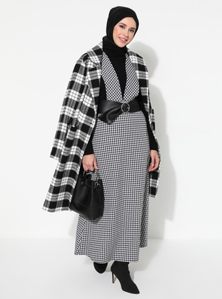 White - Black - Houndstooth - Crew neck - Unlined - Dress