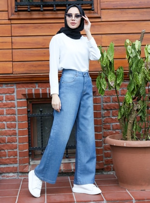 Blue - Denim - Cotton - Pants