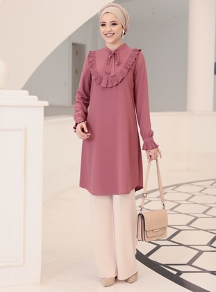 Dusty Rose - Polo neck - Crepe - Tunic