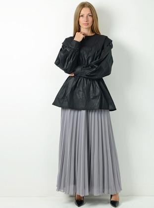 Gray - Fully Lined -  - Skirt