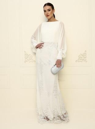 White - White - Fully Lined - Crew neck - Evening Dresses