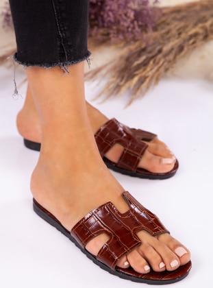 Tan - Sandal - Slippers - Ayakkabı Havuzu